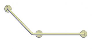 Поручни для инвалидов угловой (135°) 600х400 мм левый