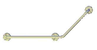 Поручни для инвалидов угловой (135°) 600х400 мм правый